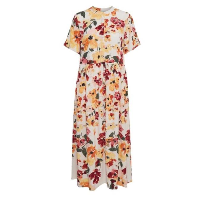 midi κοντομάνικο floral φόρεμα