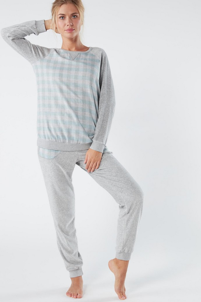 Γκρι καρό πιτζάμες