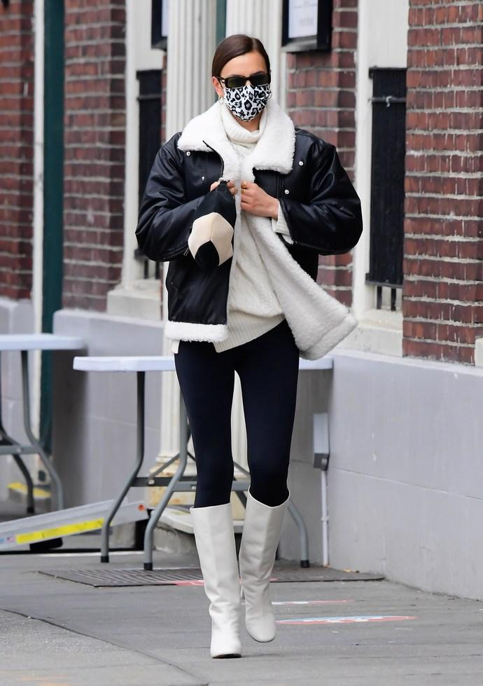 Irina Shayk shearling jacket