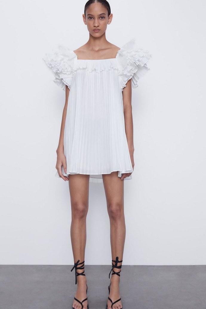 μίνι λευκό φόρεμα