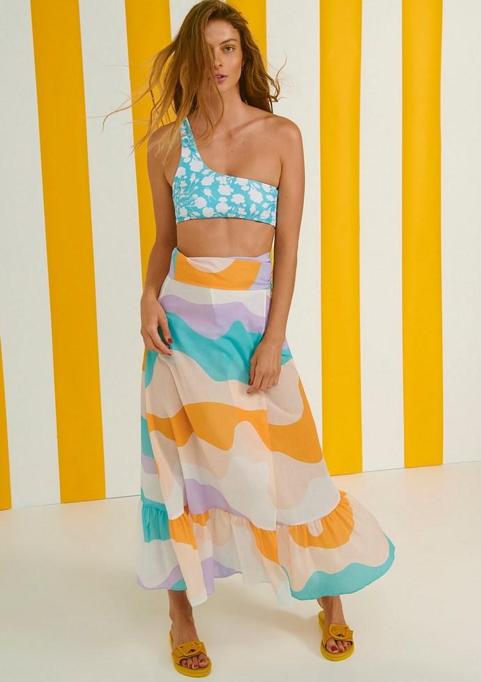 Φούστα μάξι wrap με πολύχρωμο μοναδικό μοτίβο