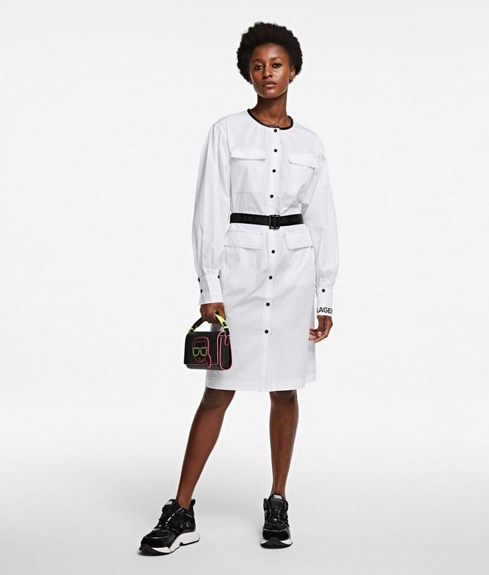 Φόρεμα shirt σε λευκό με faux-leather λεπτομέρειες και ζώνη