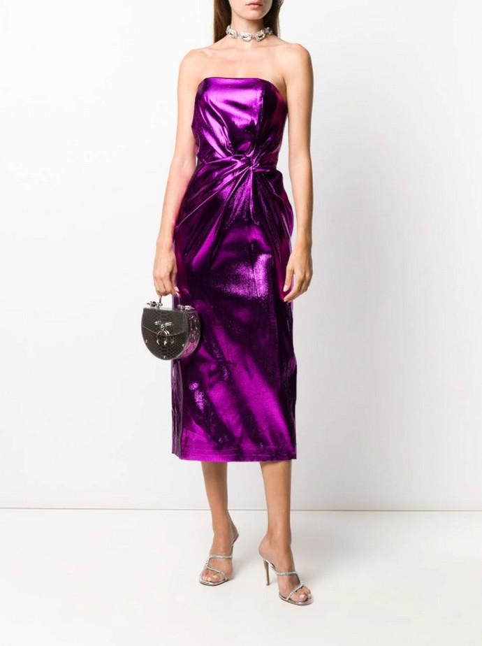 Στράπλες metallic μίντι φόρεμα