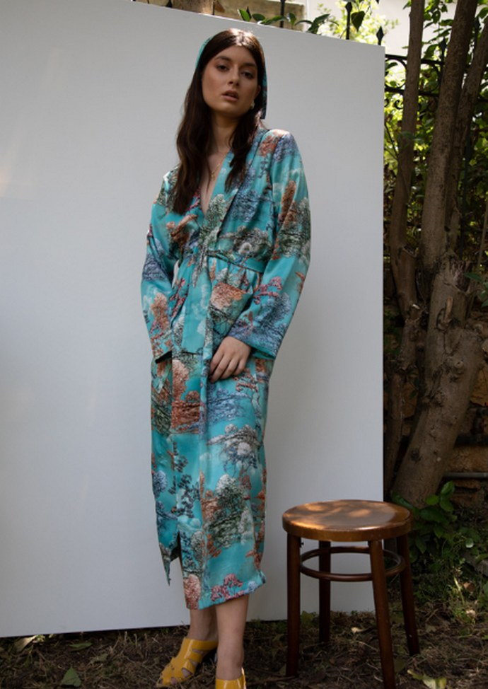 Printed kimono με ζωνάκι