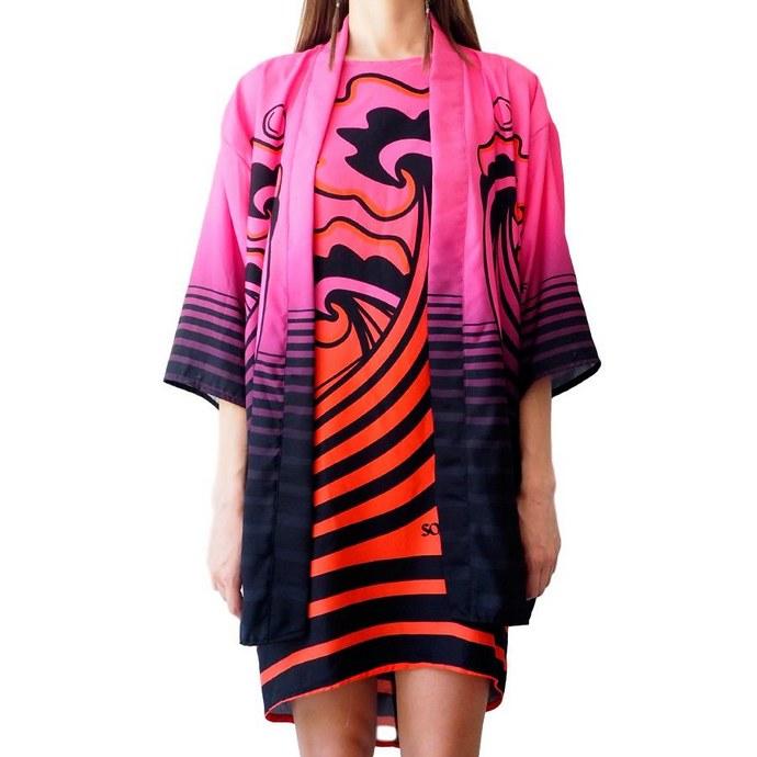 Printed kimono σε χαλαρή γραμμή