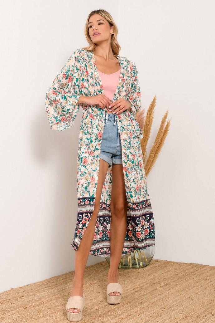 Φλοράλ kimono με ζωνάκι