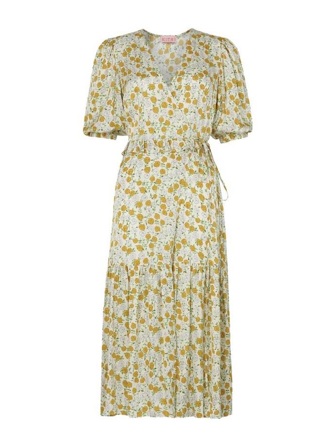 Floral print wrap φόρεμα σε κίτρινη απόχρωση
