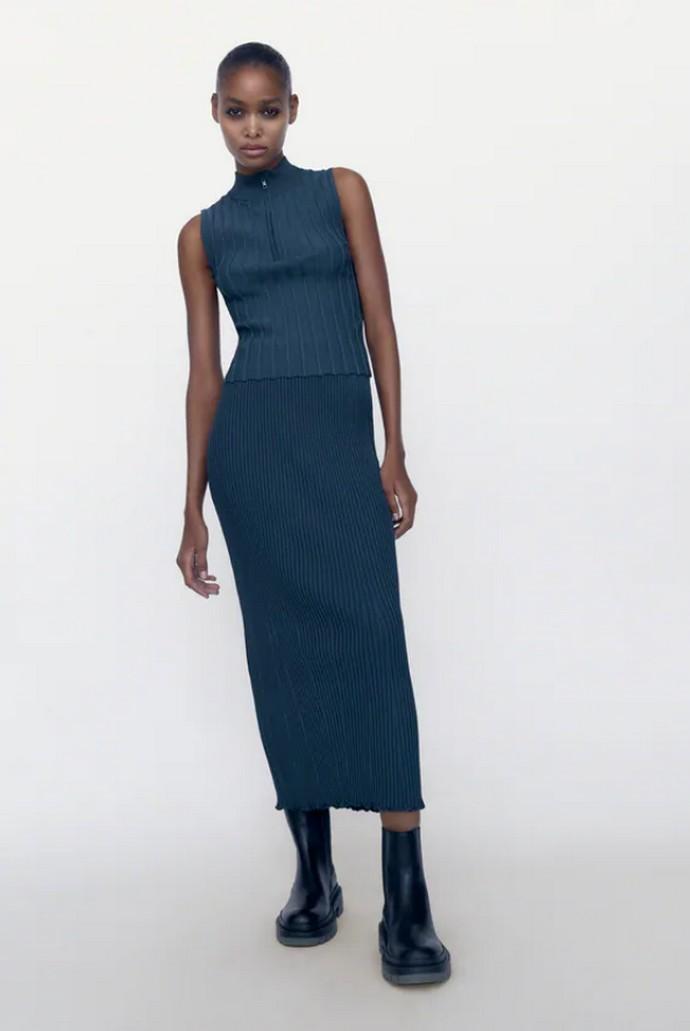 Ribbed πλεκτή φούστα