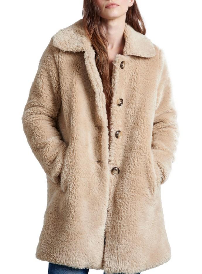 Γούνινο παλτό από συνθετικό μαλλί προβάτου σε μπεζ