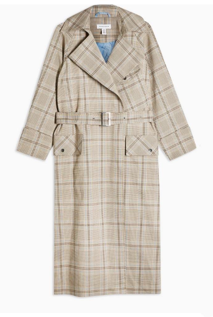 καρό παλτό με ζώνη