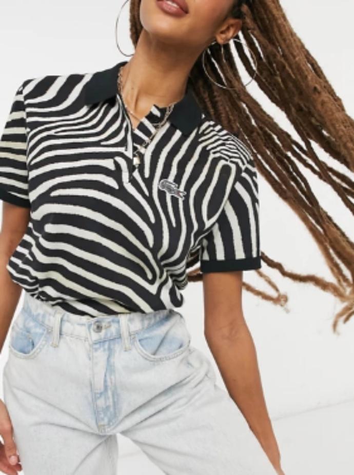 κοντομάνικο μπλουζάκι πόλο με zebra print