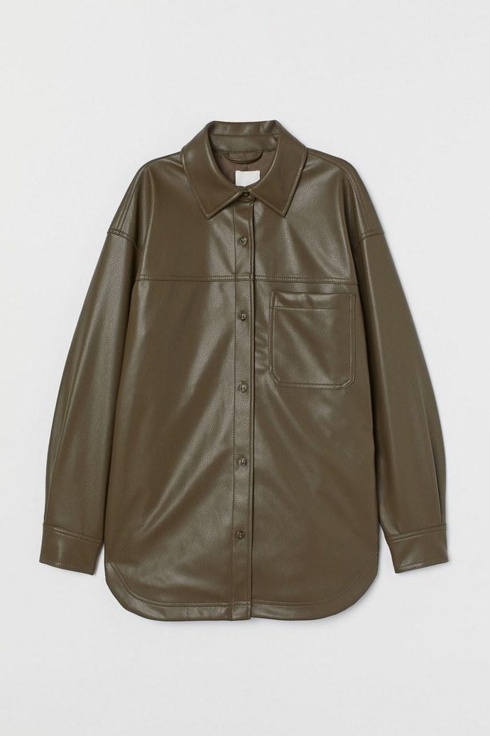 Shirt jacket από απομίμηση δέρματος