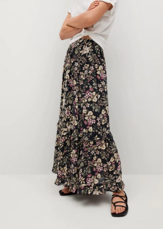 Μάξι εμπριμέ φούστα με βολάν