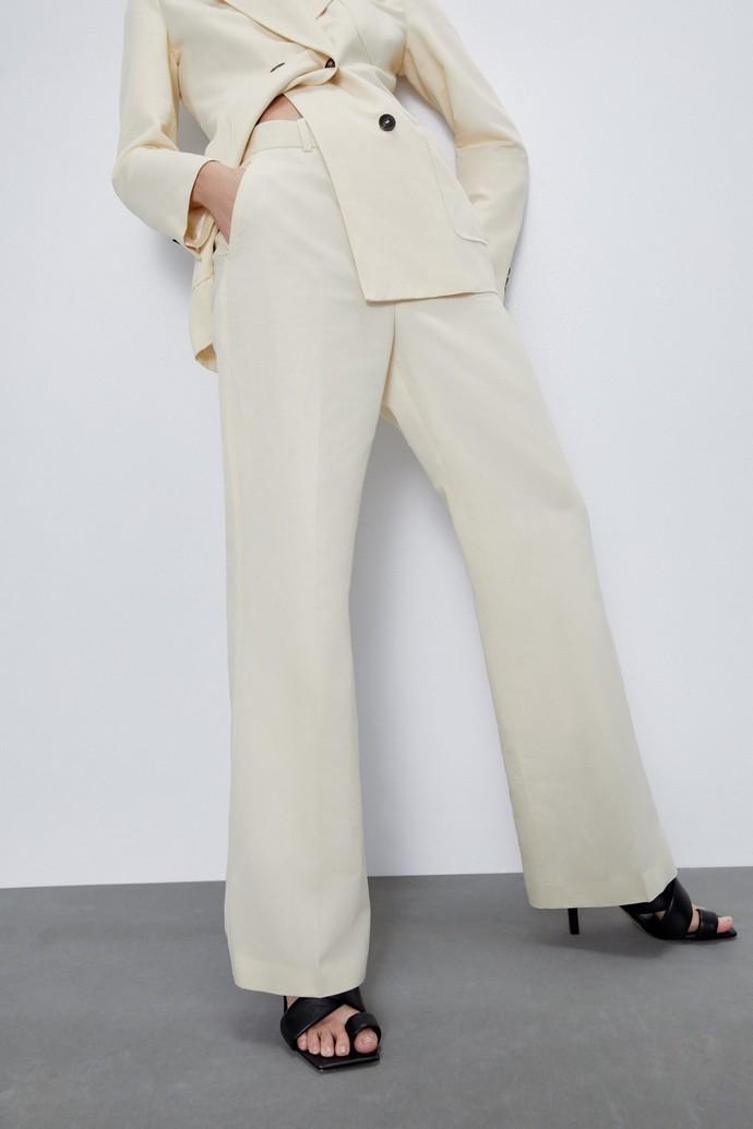 Ψηλόμεση λινή παντελόνα