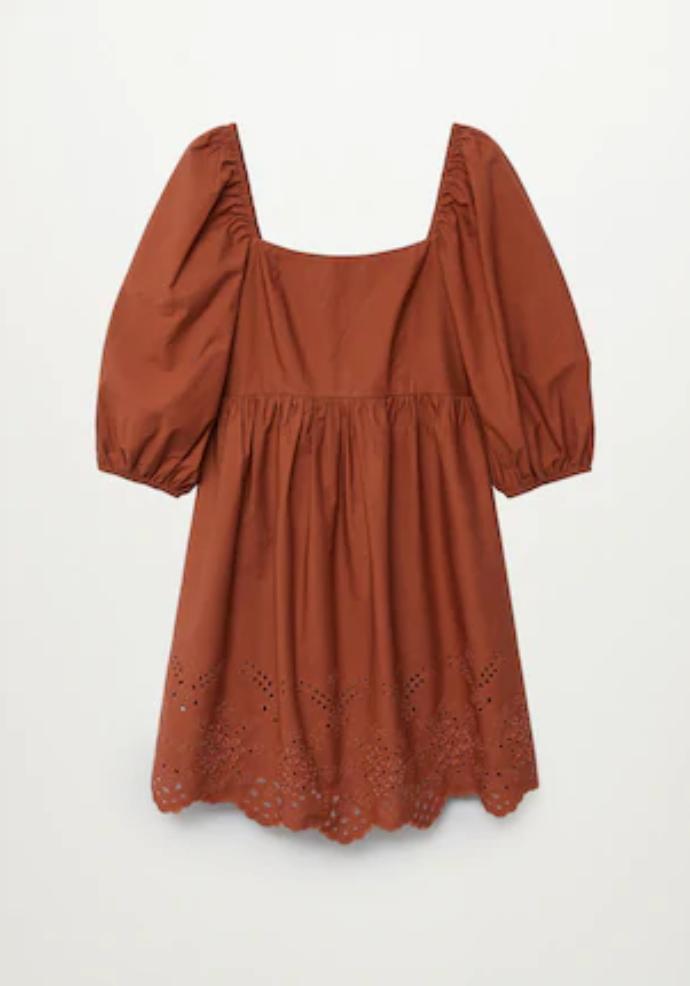μίνι φόρεμα από ποπλίνα με φουσκωτά μανίκια