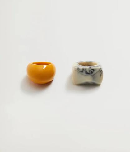 Σετ 2 δαχτυλίδια ρητίνης
