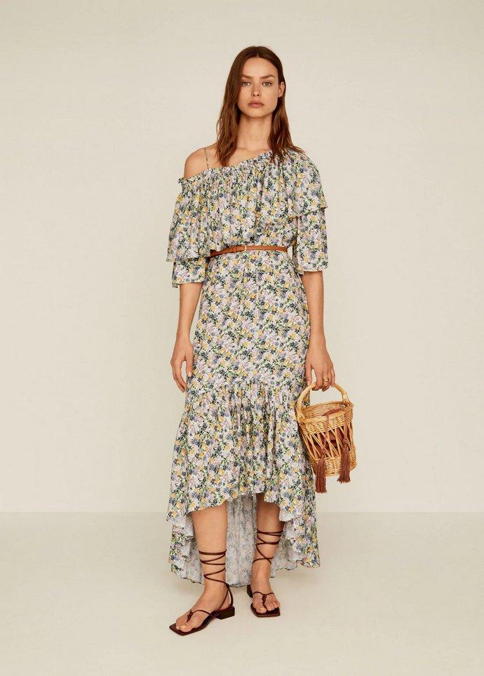 Φόρεμα floral βολάν με ασύμμετρο μήκος και λεπτομέρεια από βολάν