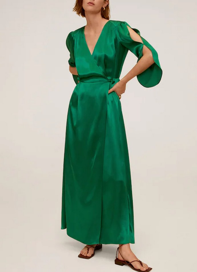 Φόρεμα κρουαζέ βαμβακερό με μανίκια τρία τέταρτα με ανοίγματα και υπέροχη σμαραγδί απόχρωση