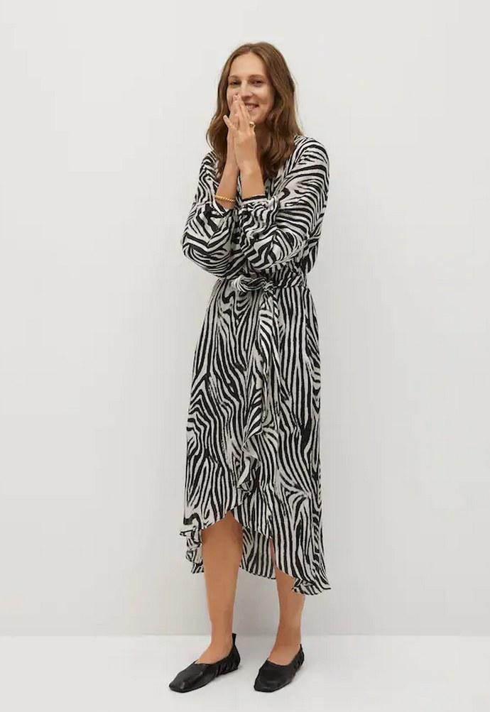 Φόρεμα με τύπωμα ζέβρα και κρουαζέ σχεδιασμό