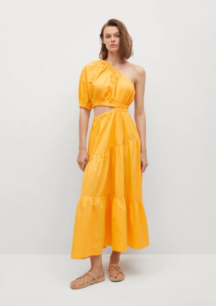 βαμβακερό φόρεμα με άνοιγμα