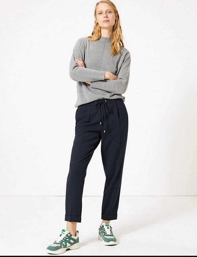 Drawstring Pleated Tapered Trousers- Marks & Spencer