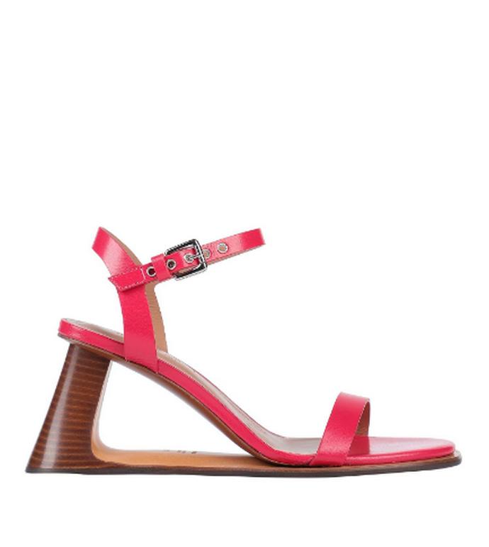 πέδιλο σε ροζ χρώμα με ξύλινο τακούνι