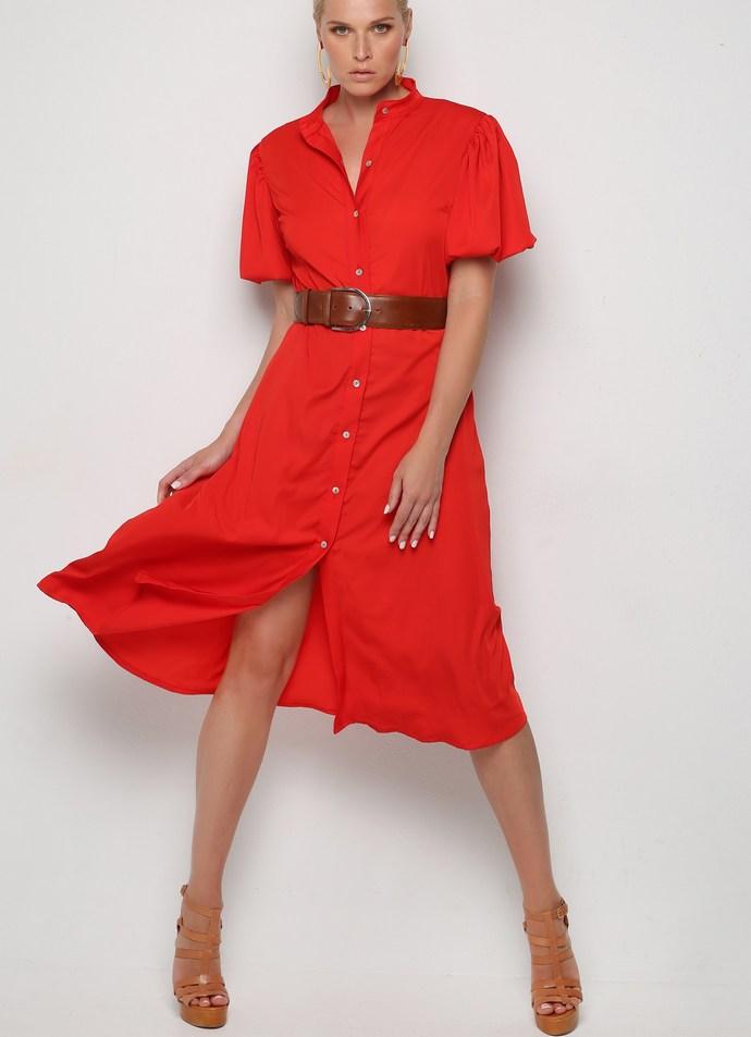 Κόκκινο shirt dress Red Jak με balloon κοντά μανίκια