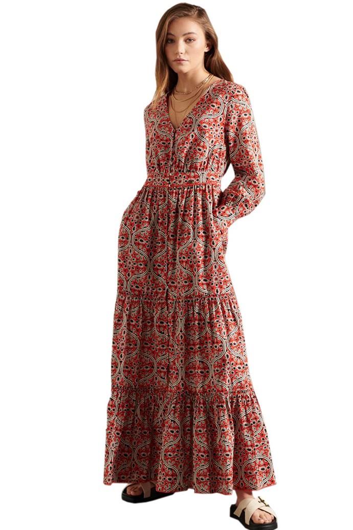 Paisley tiered φόρεμα με φουσκωτά μανίκια