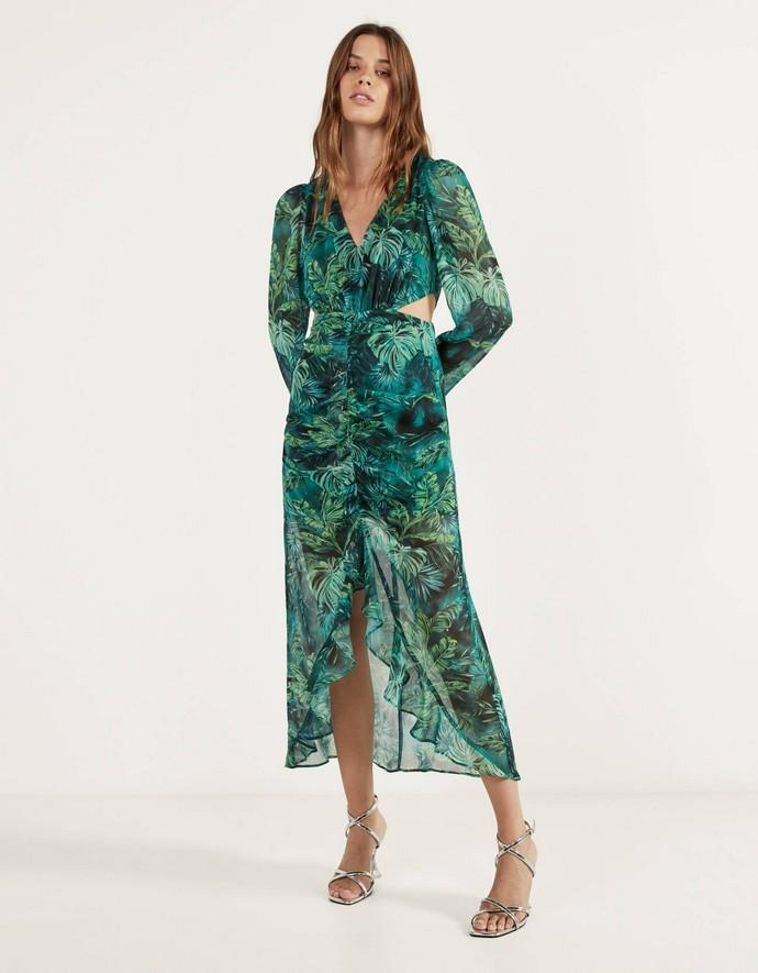 Μάξι φόρεμα με cut-outs και τρόπικαλ print