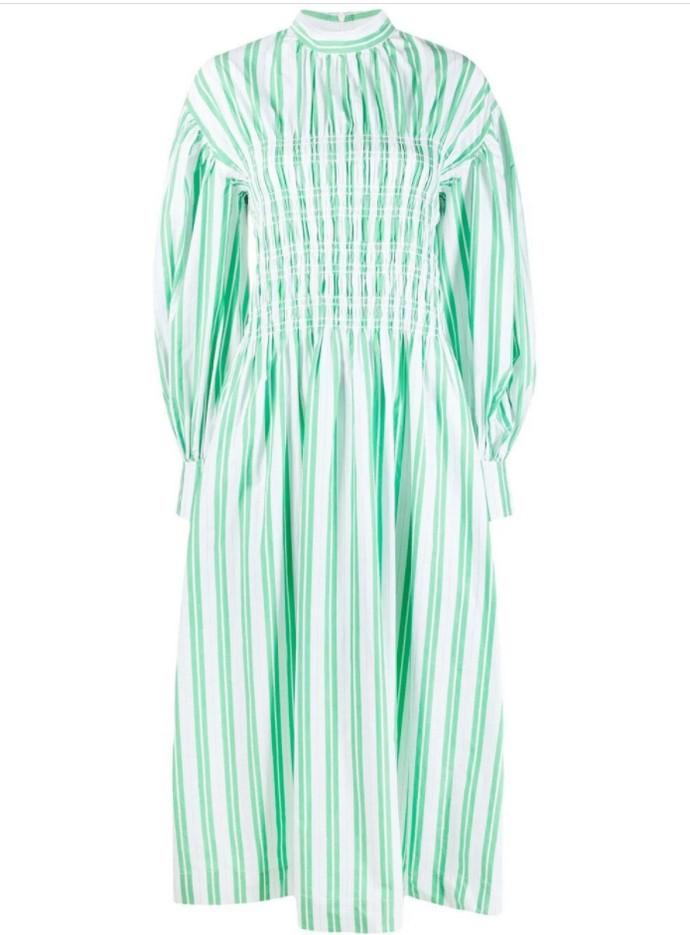 Shirred ριγέ φόρεμα