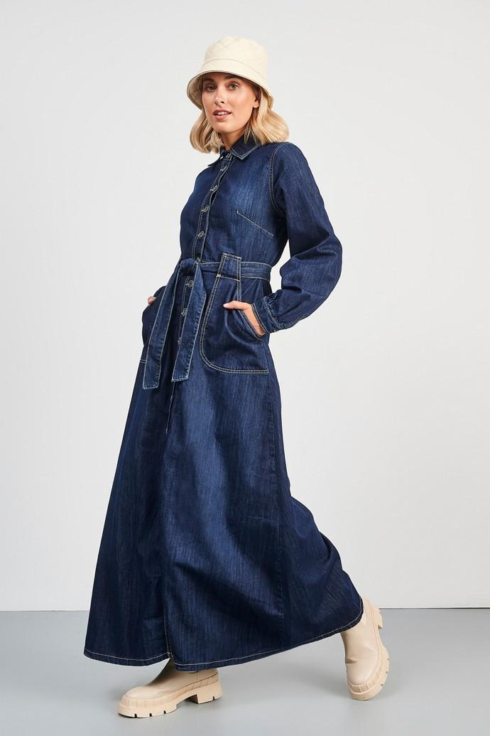 Τζιν φόρεμα με ζώνη