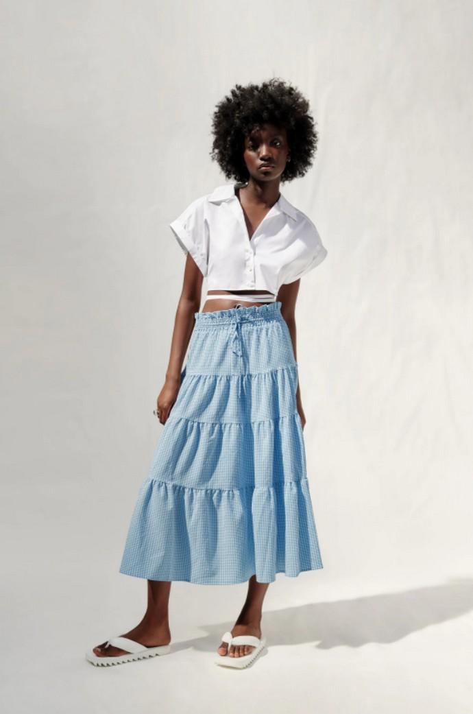 Καρό panelled φούστα