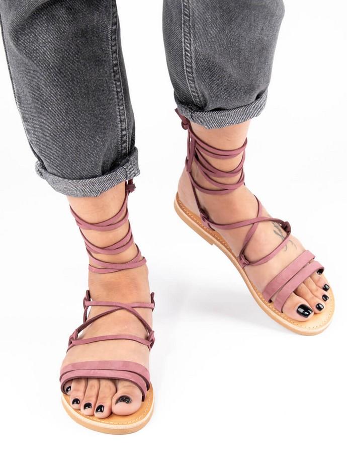 Δερμάτινα lace-up σανδάλια