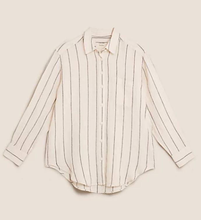 λινό ριγέ πουκάμισο