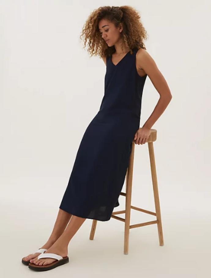 μίντι φόρεμα με λαιμόκοψη V και δέσιμο