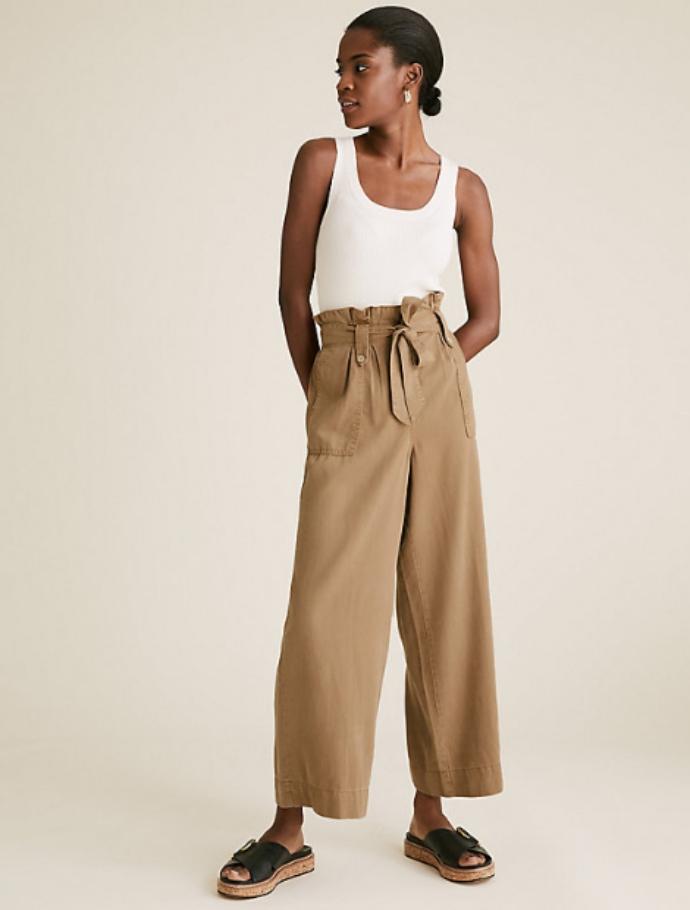 crop φαρδύ παντελόνι με ζώνη