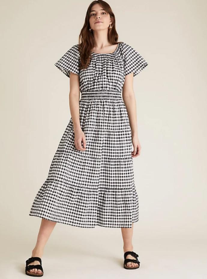 midi βαμβακερό καρό φόρεμα