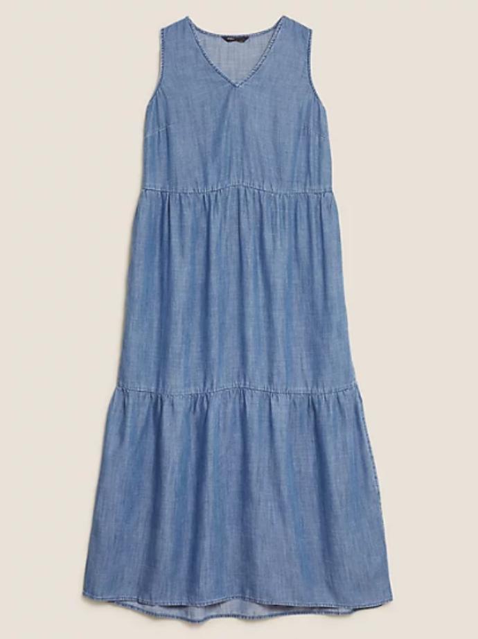 μάξι φόρεμα με στρώσεις και λαιμόκοψη V από 100% Tencel™