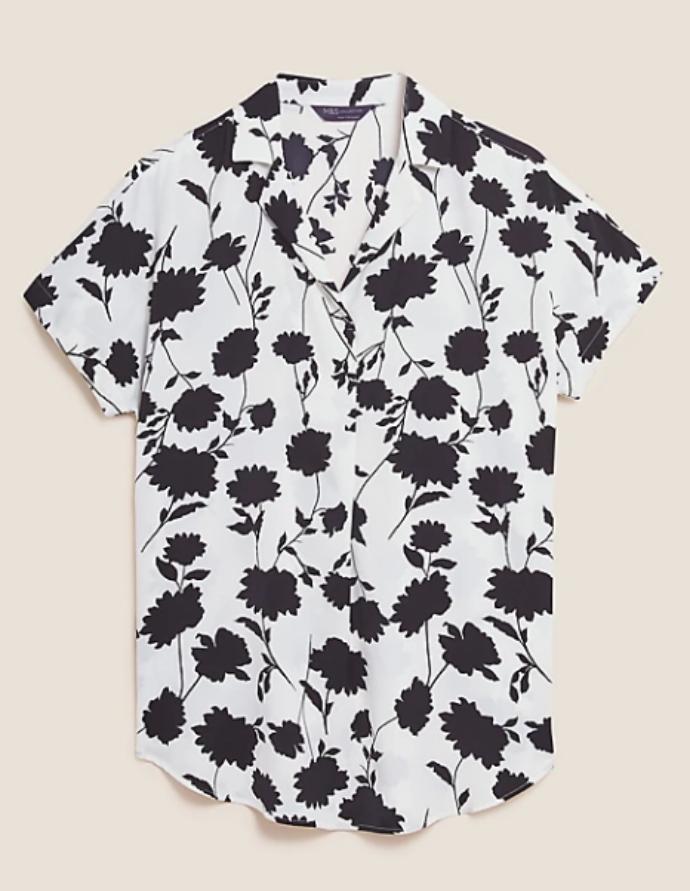 φλοράλ ασπρόμαυρο πουκάμισο