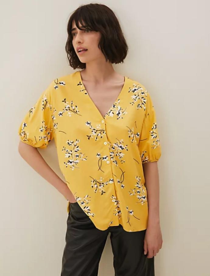 floral μπλούζα με φουσκωτό μανίκι
