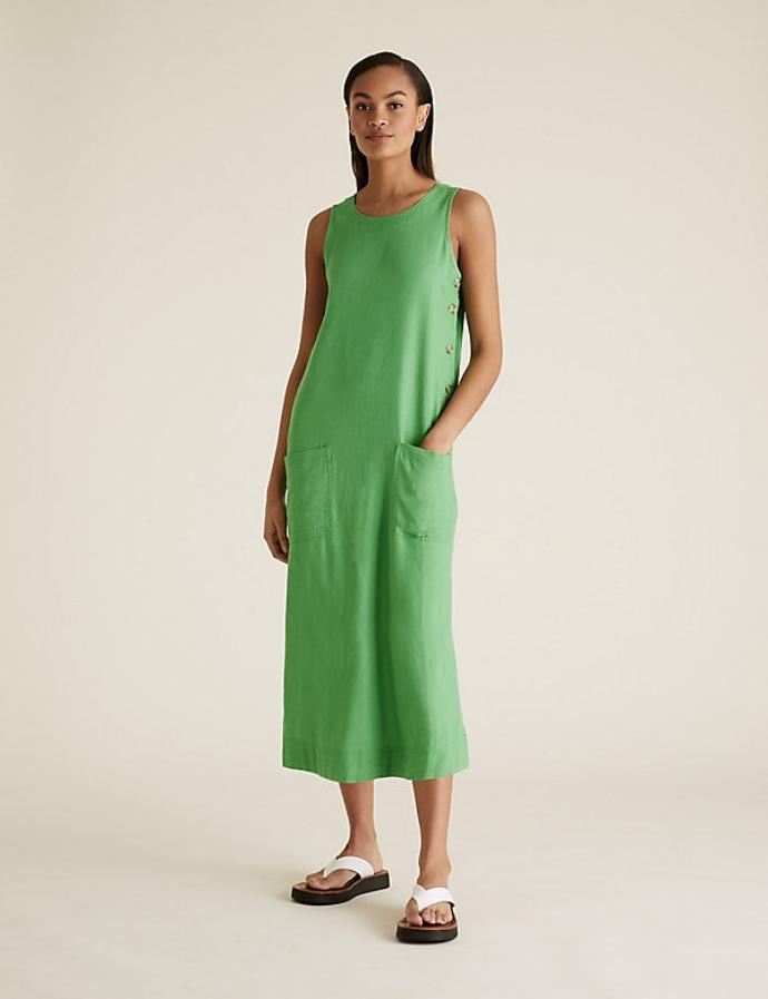 λινό μίντι ίσιο φόρεμα με στρογγυλή λαιμόκοψη