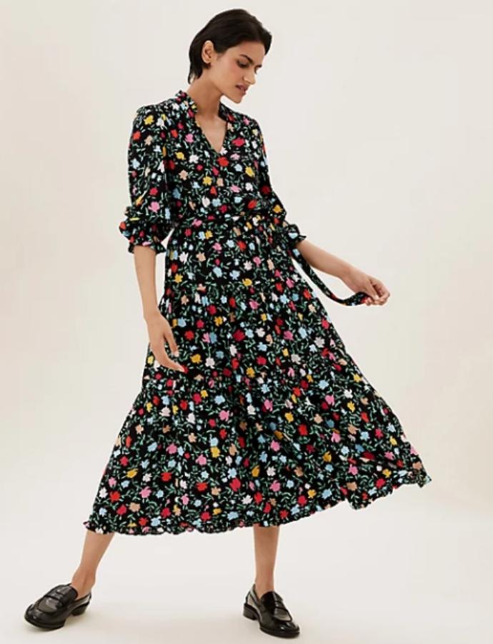 midi floral φόρεμα με στρώσεις