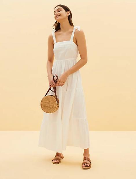 μίντι ριχτό φόρεμα παραλίας από 100% βαμβάκι