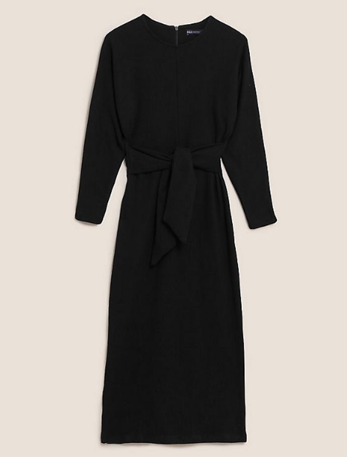 midi ίσιο φόρεμα με ζώνη
