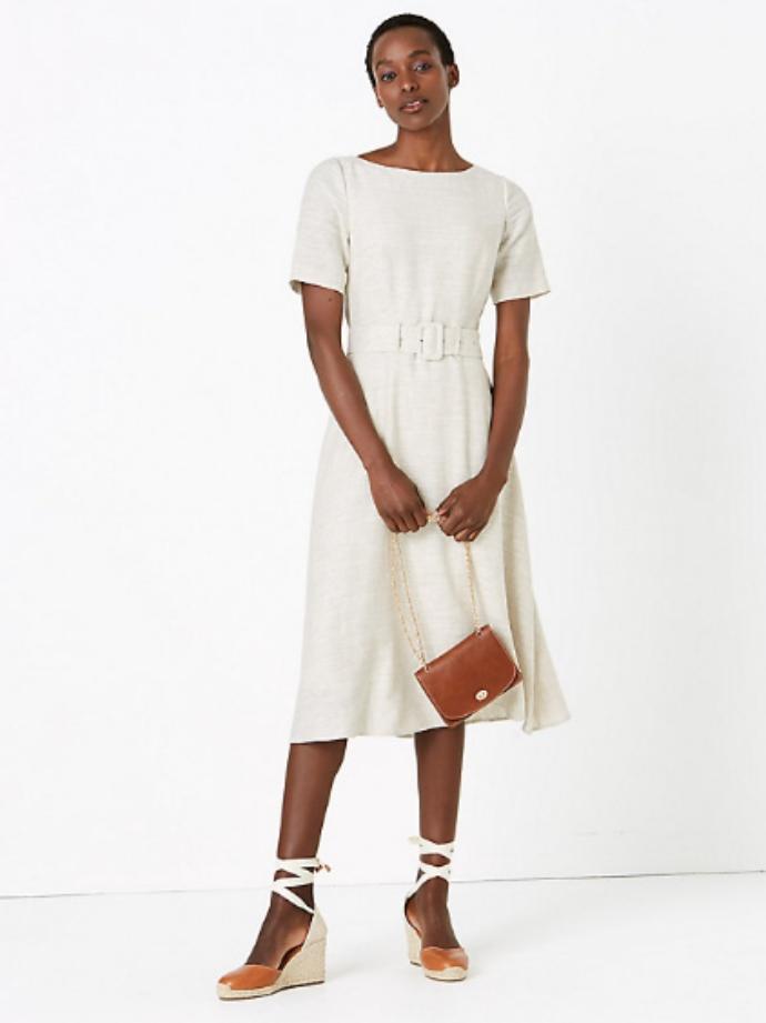 λινό μίντι φόρεμα με ζώνη