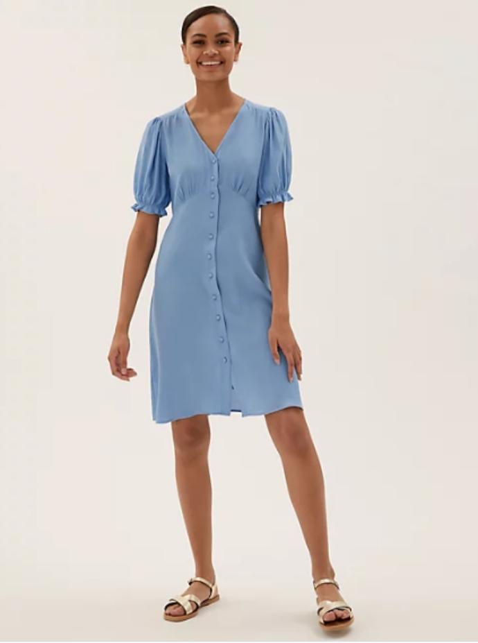 μίντι φόρεμα με κουμπάκια και φουσκωτά μανίκια