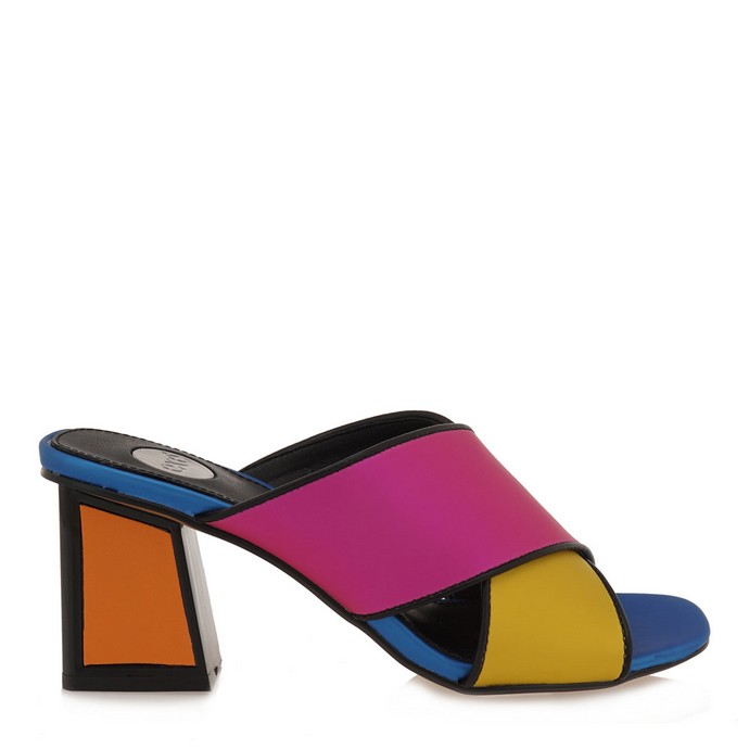 Πολύχρωμα mules με block heel