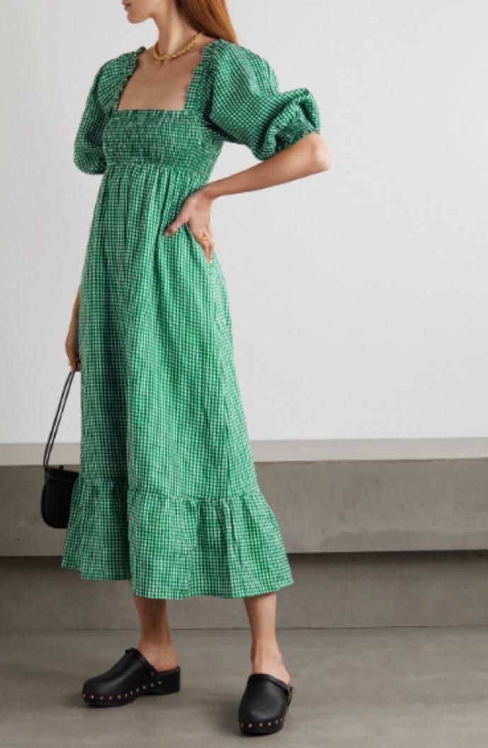 μίντι φόρεμα με φουσκωτό μανίκι