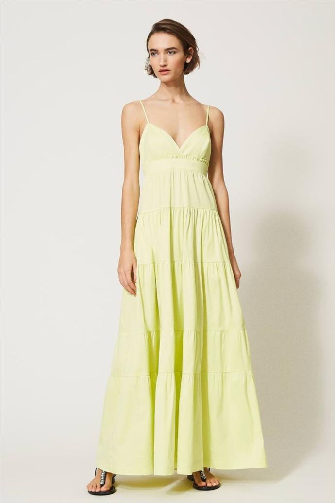 μάξι φόρεμα αμάνικο με βολάν