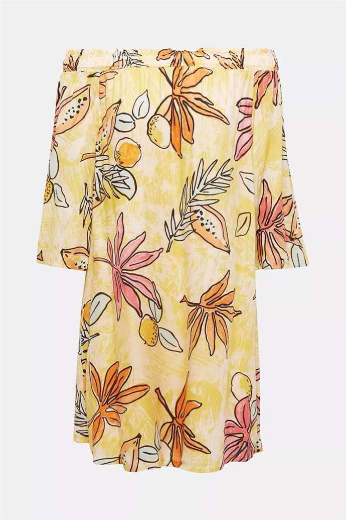 off-the-shoulder mini φόρεμα με μοτίβο
